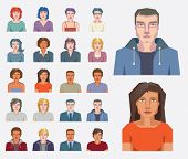 image of mug shot  - Set of vector portraits and faces of men and women for avatar icons - JPG