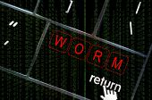 Worm virus Concept With The Focus On The Return Button Overlaid With Binary Code