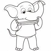 Cartoon Elefant Mundharmonika spielt