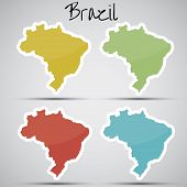 stock photo of brasilia  - shiny vector stickers in form of Brazil - JPG