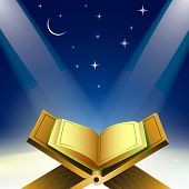 Open Islamic religious holy book Quran Shareef in shiny moonlight night.