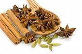 Cinnamon Sticks,cardamom,vanilla Bean And Star Anise On White - Tight Depth Of Field