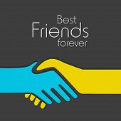 Happy Friendship day background with handshake and text Best Friends Forever.