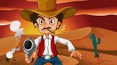 Illustration of a mad cowboy with a weapon