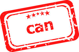 image of pma  - can on red rubber stamp over a white background - JPG