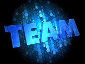 Team on Dark Digital Background.