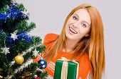 stock photo of merry chrismas  - Girl behind the Christmas tree with gift - JPG