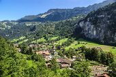 Scenic Valley Landscape In Lauterbrunnen, Switzerland