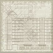 Grunge Architectural Background With Elements Of Plan And Facade Drawings. Eps10