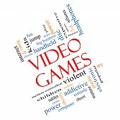 foto of obesity children  - Video Games Word Cloud Concept Angled with great terms such as addictive violent children play rating fun and more - JPG