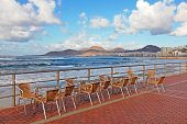 Spain. Canary Islands. Gran Canaria Island. Las Palmas De Gran Canaria. An Open-air Cafe On The Las