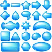 picture of octagon shape  - Set blue icons - JPG