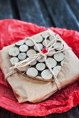 Gift Decorated With Wooden Heart
