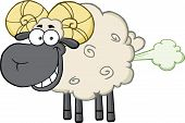 stock photo of farting  - Smiling Black Head Ram Sheep Cartoon Mascot Character With Fart Cloud - JPG