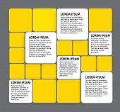 Rounded Squares Of White & Yellow Paper - Vector Infographic Banners