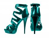 Women's Shoes Dark Turquoise Colors. Collage