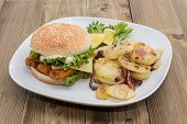 Fish Burger With Fried Potatoes
