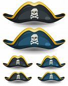 stock photo of pirate hat  - Illustration of a set of cartoon pirate or corsair hat with skull head and cross bones insignia - JPG