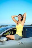 Happy Woman On Car Summer Travel