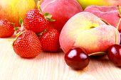 Strawberries, Platt Peach, Cherries, Lemon And Mango