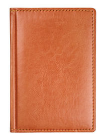 pic of passport template  - Brown leather diary book cover isolated on white with clipping path - JPG