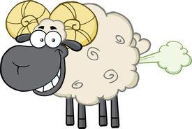 foto of fart  - Smiling Black Head Ram Sheep Cartoon Mascot Character With Fart Cloud - JPG