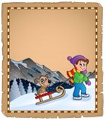 Parchment with winter thematics - eps10 vector illustration.