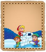 stock photo of igloo  - Parchment with children and igloo  - JPG
