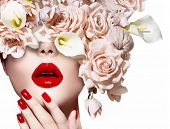 stock photo of rose close up  - Fashion Sexy Woman with flowers - JPG