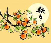 picture of korean  - Vector Ink Painting of Persimmons for Korean Chuseok  - JPG