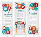 Set of education banners with icons. Vector
