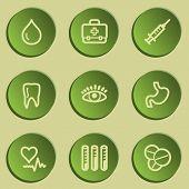 Medicine  web icon set 1, green paper stickers set