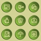 Travel  web icon set 4,  green paper stickers set