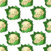 Fresh whole cauliflower seamless pattern
