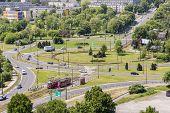 Aerial View On Traffic Circle - Bedzin, Poland.