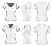 Women's white short sleeve polo-shirt and t-shirt design templates (front, back, and side views). Ve
