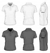 Men's white and black short sleeve polo-shirt design templates (front, back, and side views). Vector illustration.