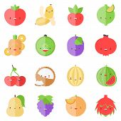 stock photo of muskmelon  - Flat icons set of popular tasty fruits in cute modern style - JPG