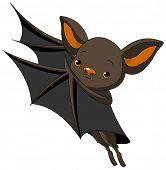 Cute Cartoon Halloween bat presenting with his wings. Raster version.