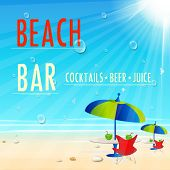 Vintage Beach Juice Bar poster, easy all editable