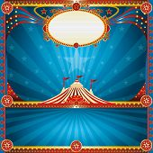 Square circus blue card. A square circus postcard for your show.