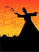 image of rumi  - vector illustration for sufism  - JPG