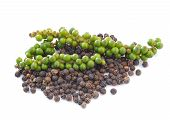 Black Peppercorn And Bunches Of Fresh Green Pepper Isolated On White Background