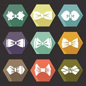 Several Flat Icons With White Silhouettes Of Bow Tie