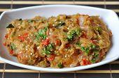 stock photo of brinjal  - Baingan bharta is famous indian cuisine made out of egg plant or brinjal - JPG