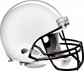 image of football field  - Vector illustration of white football helmet on white background - JPG