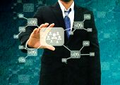 Businessman Holding Icon Of Social Network In The Old Paper Texture