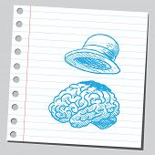 Brain and hat