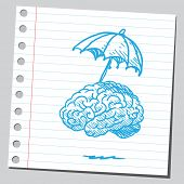 Brain with umbrella