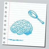 Brain and magnifying glass